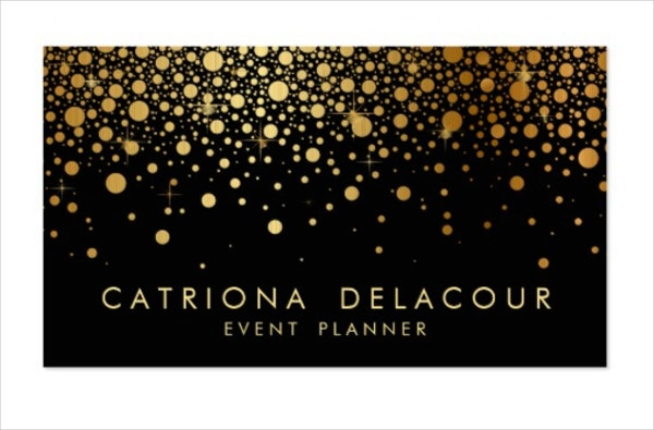 faux gold foil confetti business card