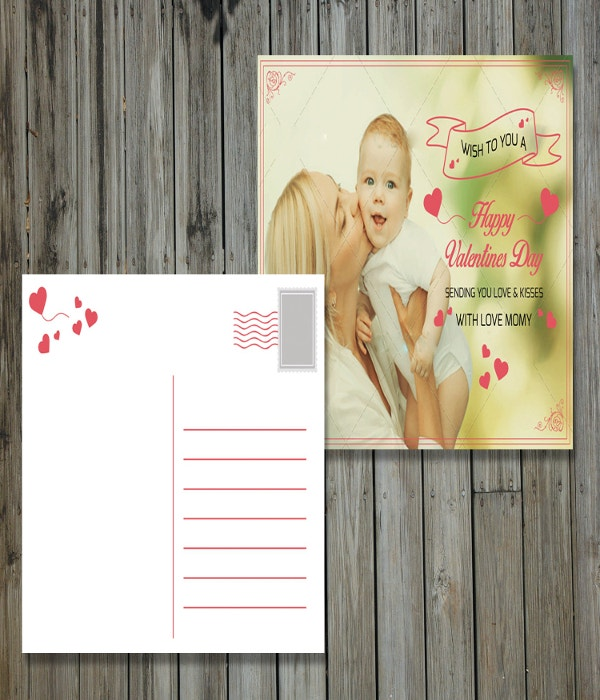 valentines holiday postcard template