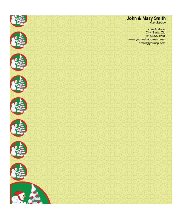 christmas snowman stationery template