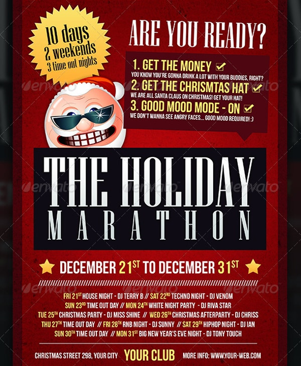 christmas holiday marathon flyer template