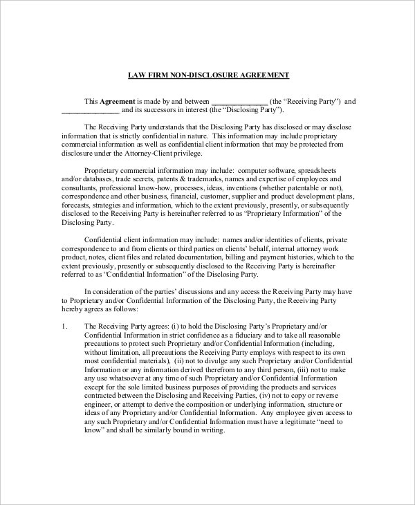 9 Legal Confidentiality Agreement Templates Free Sample