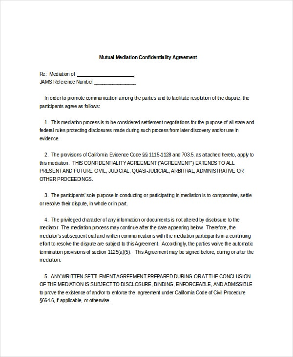10 mediation confidentiality agreement templates free sample example format download free. Black Bedroom Furniture Sets. Home Design Ideas