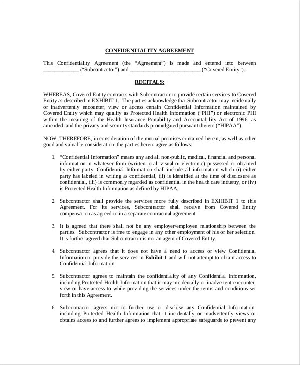 9 Medical Confidentiality Agreement Templates Free Sample – Standard Confidentiality Agreement