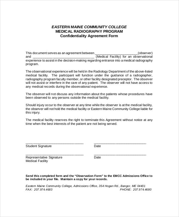 Non Disclosure Agreement Form. Medical Facility Confidentiality