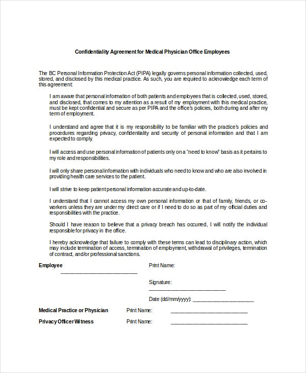 Confidentiality Agreement For Medical Physician Example