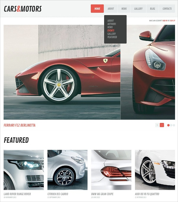 Minimalism Car & Motors WordPress Theme $75