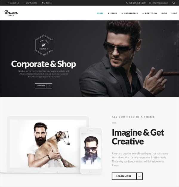 Minimal Corporate Blog WordPress Theme $59