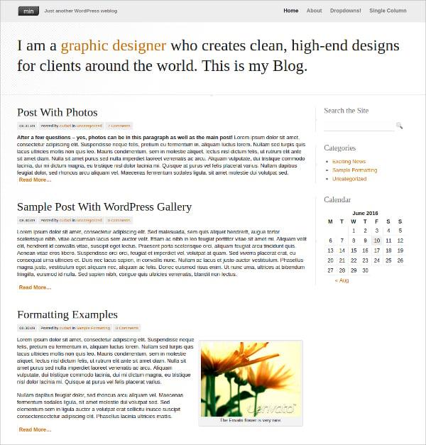Personal Minimal WordPress Theme $39
