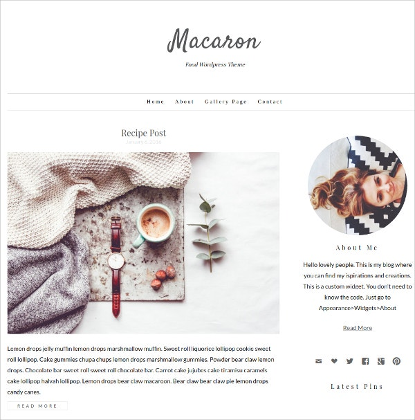 Minimal Food WordPress Theme $39
