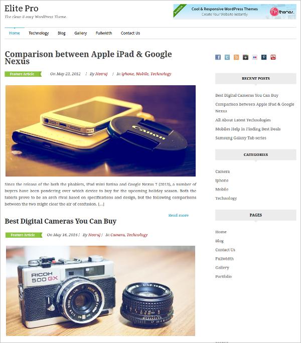 Clean, Design Minimal WordPress Theme $59