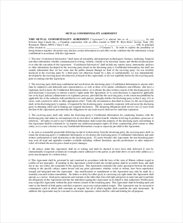 10+ Mutual Confidentiality Agreement Templates – Free Sample ...
