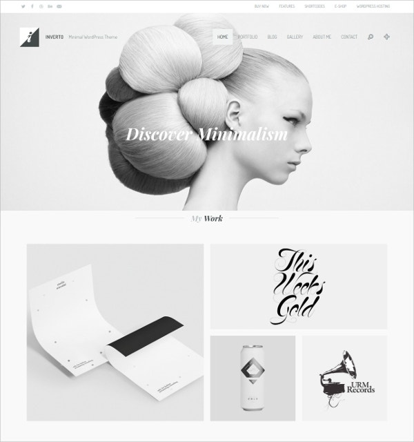 White & Black Minimal WordPress Theme $59