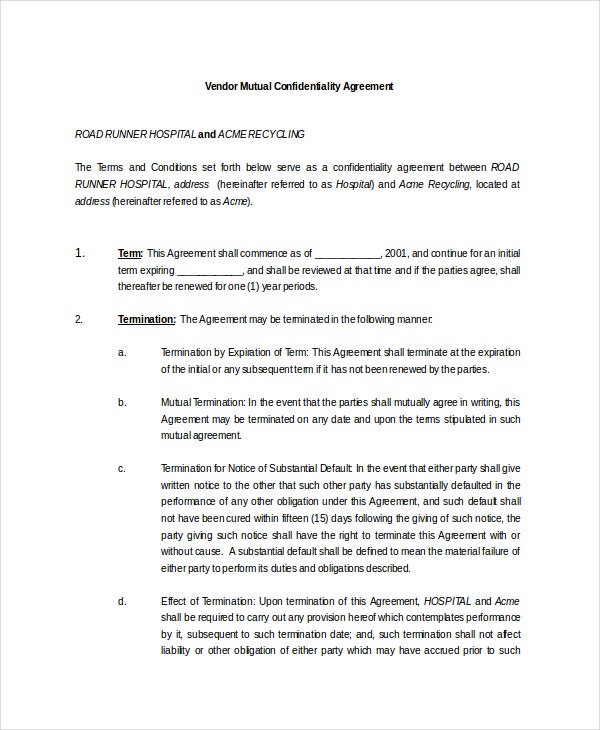 Sample Vendor Mutual Confidentiality Agreement  Mutual Agreement Template