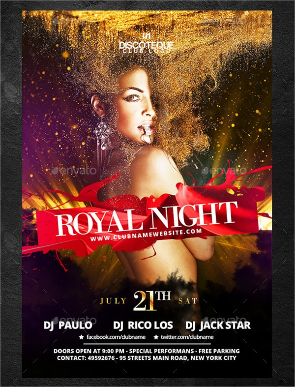 royal club party flyer templates