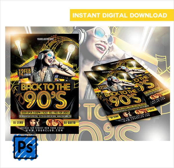 Back to 90's Club Flyer Template