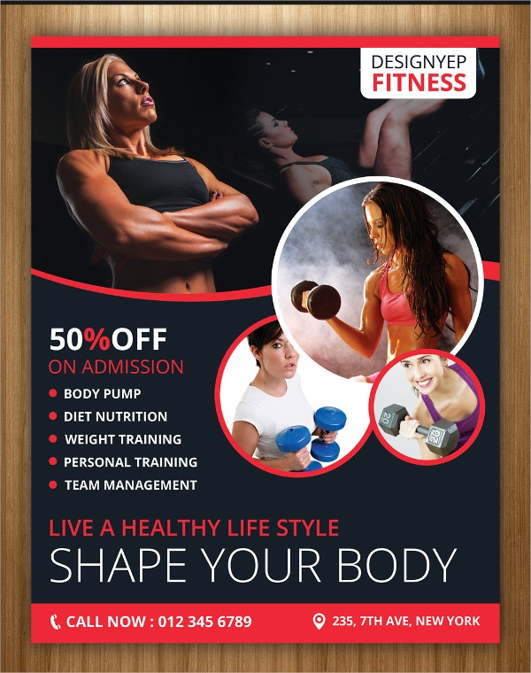 fitness club flyer psd template