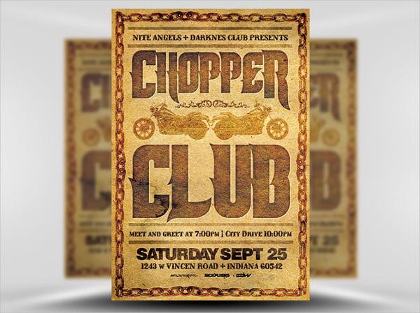 vintage chopper club flyer template
