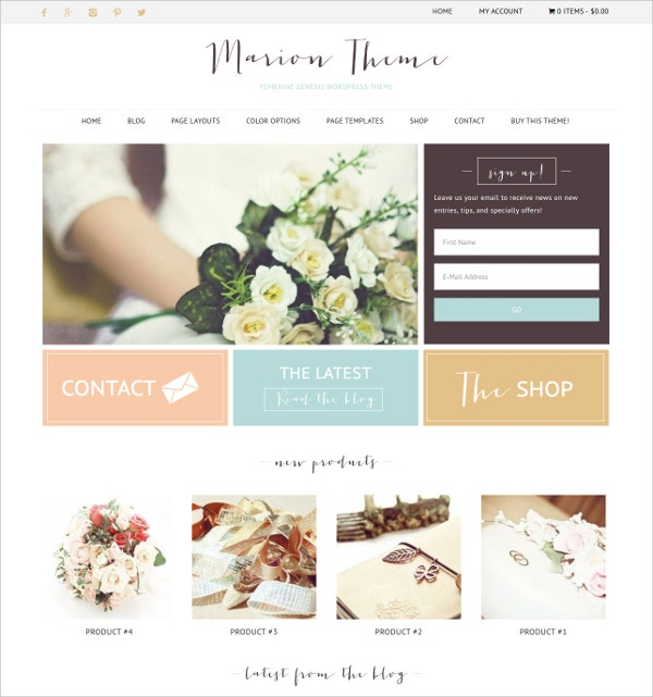 eCommerce Feminine WordPress Theme $55