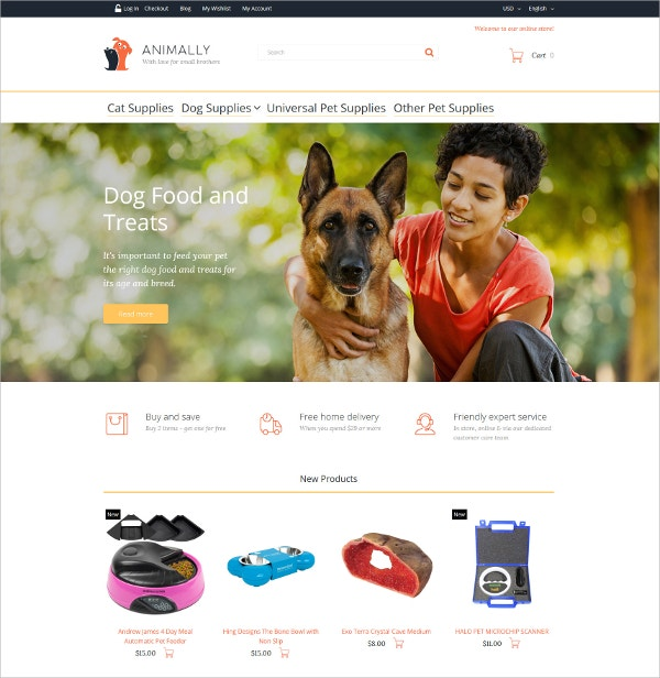 Animal & Dog Food Magento Blog Theme $179