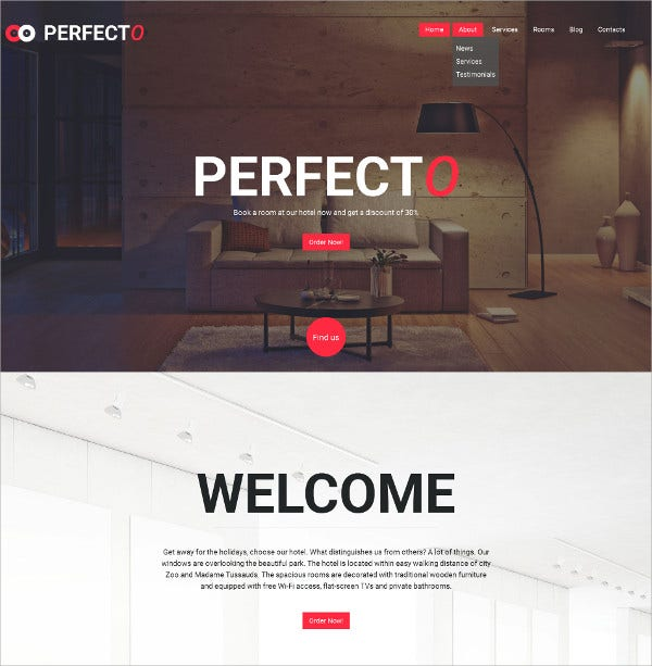 Hotels Responsive Moto WordPress Template $199