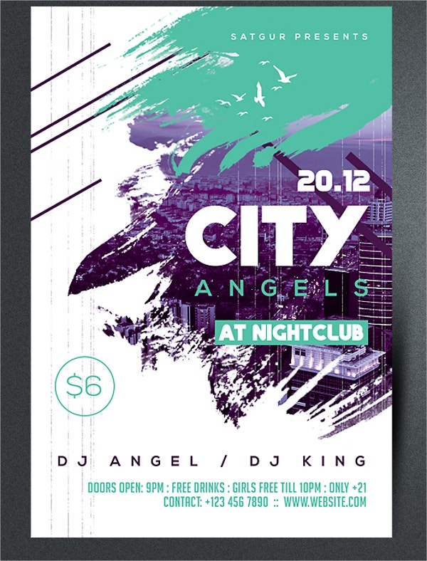 Modern City Angels Party Flyer