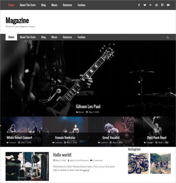 Clean Magazine Blog WordPress Theme $45