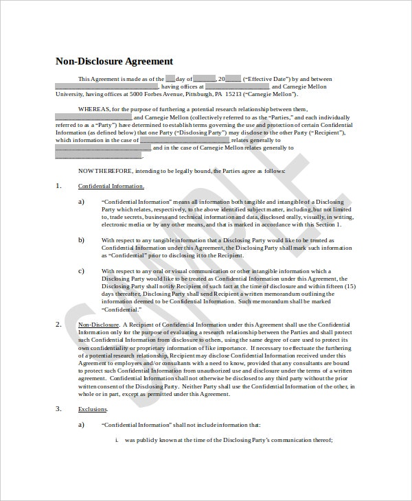 8 Non Disclosure And Confidentiality Agreement Templates Doc Pdf