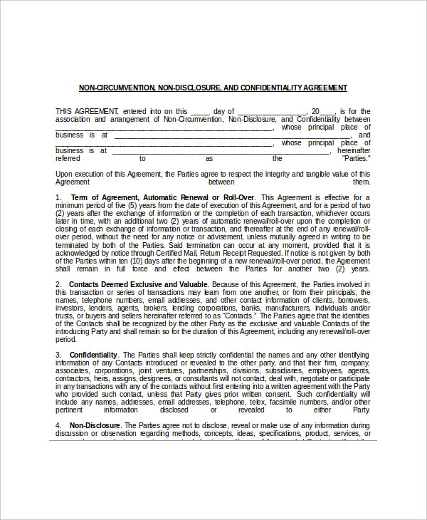 Non Disclosure And Confidentiality Agreement Templates  Free