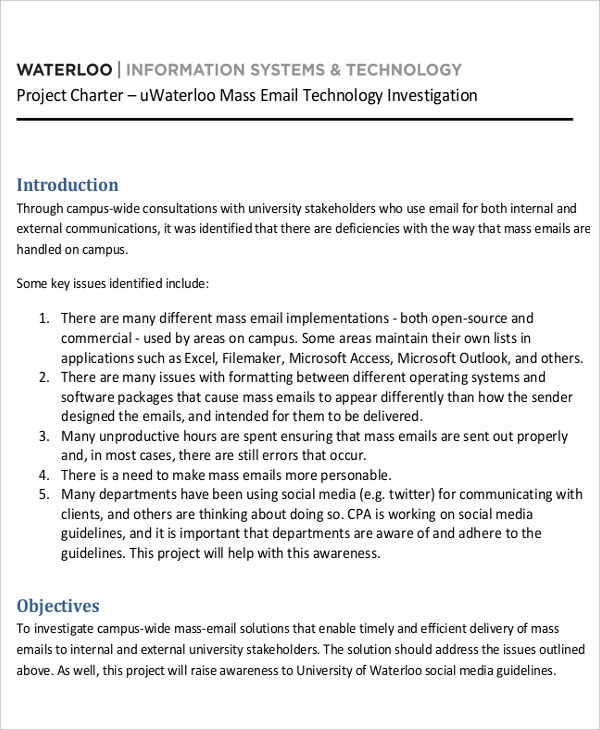 Technology Investigation Project Charter Template
