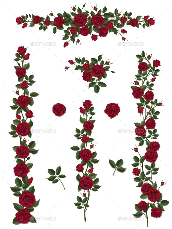 climbing red rose brushes