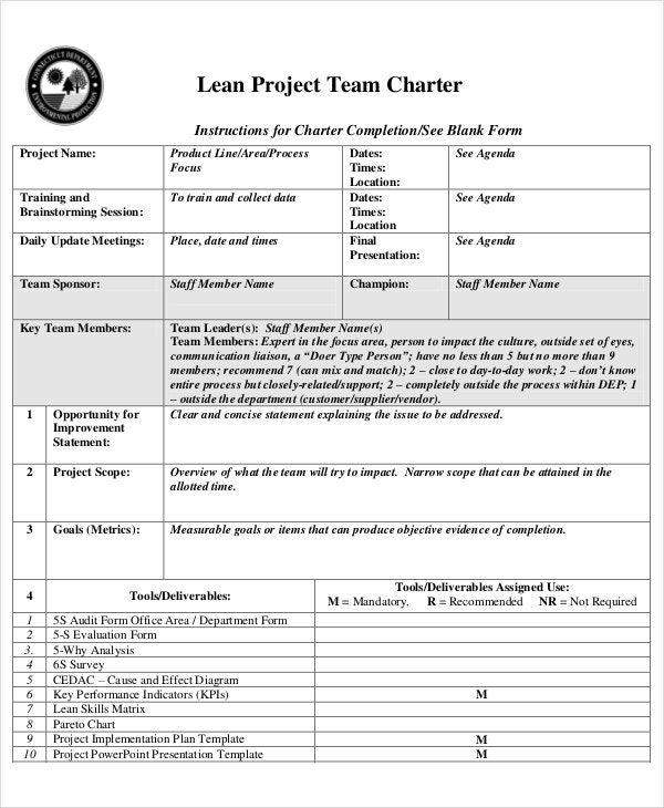 Lean Project Team Charter Template