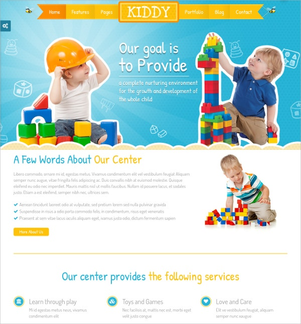 Children White WordPress Theme $59