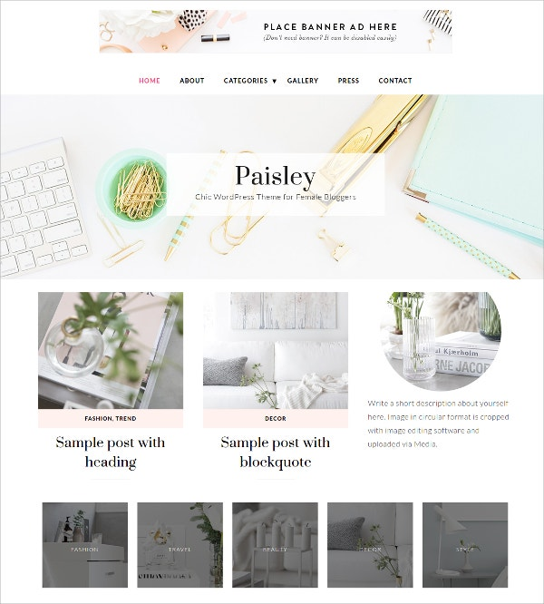Premium Feminine WordPress Theme $99