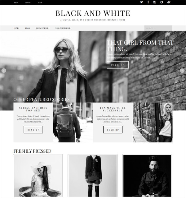 black white white wordpress theme