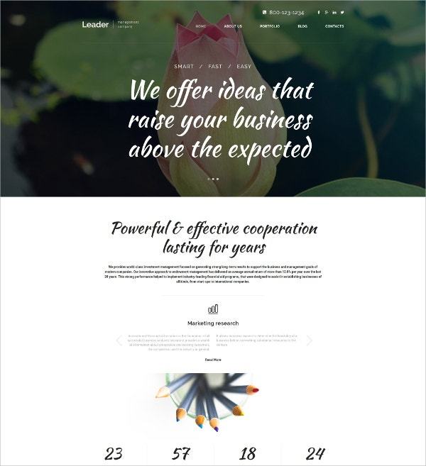 Management White WordPress Theme $75