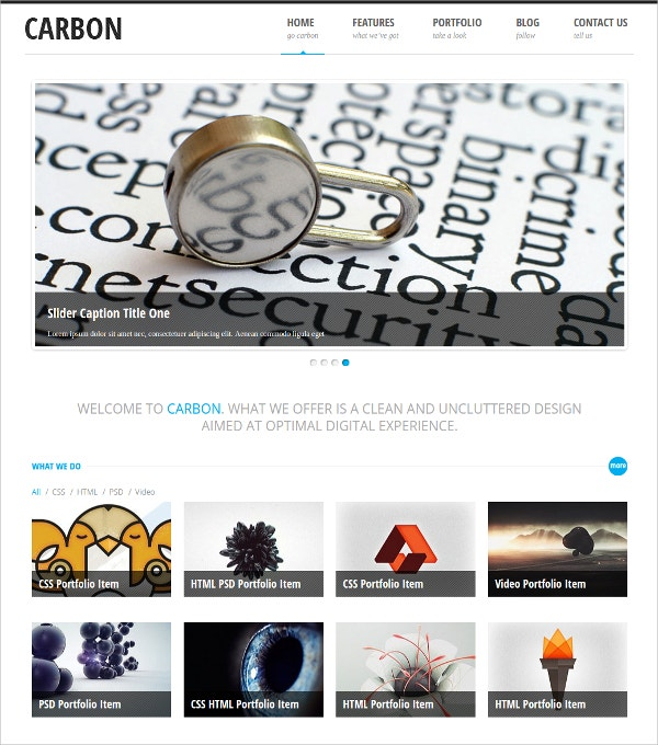 Portfolio Responsive White WordPress Theme $2