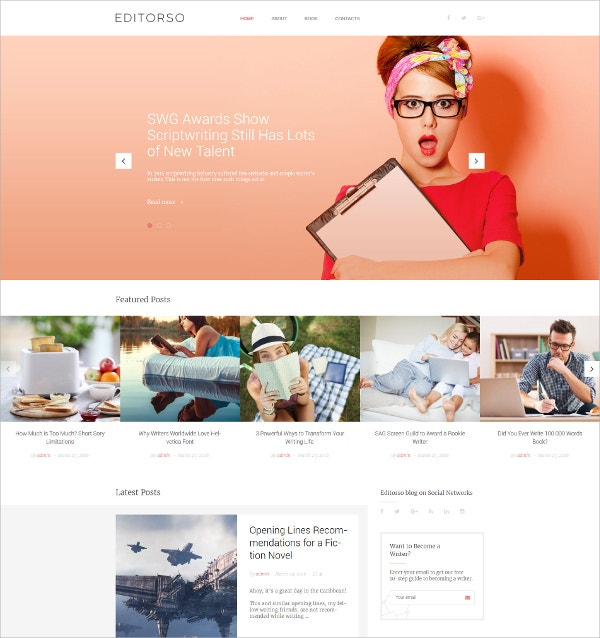 Journalist Blog White WordPress Theme $45