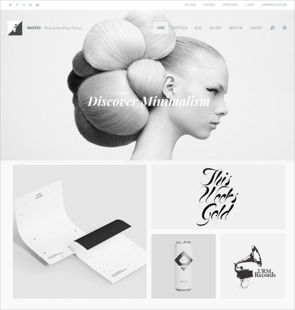 Minimal White WordPress Theme $59