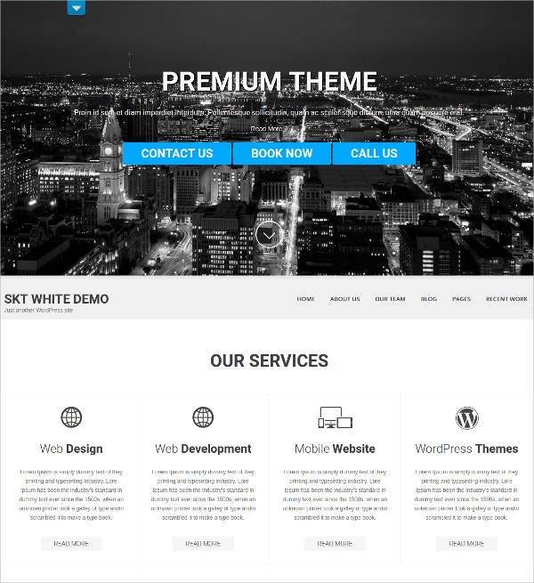 Premium Professional White WordPress theme $39