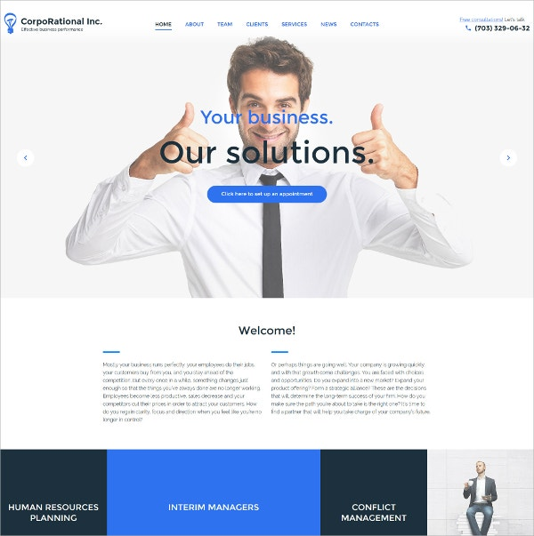 Business White WordPress Theme $75