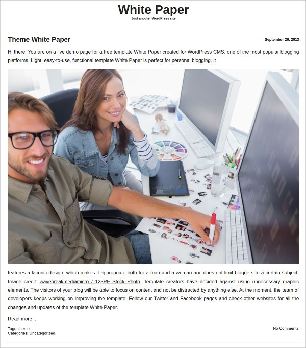 Free White Paper WordPress Theme