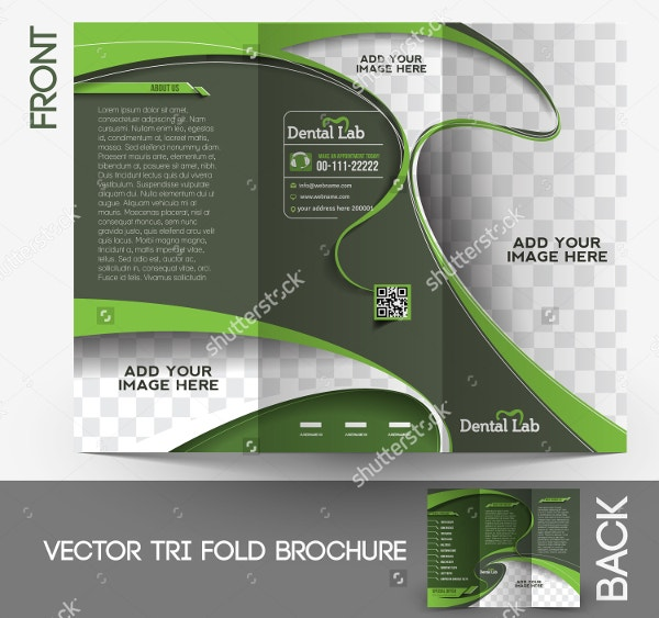Tri-fold Dental Brochure Design Vector Illustartion