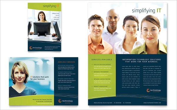 Free Simplyfying IT Leaflet Template for Word & Publisher