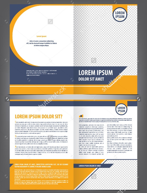 Vector Empty Brochure Template Design with Orange Elements