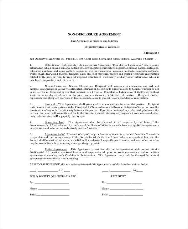 Personal Confidentiality Agreement Templates Free Sample - One page nda template