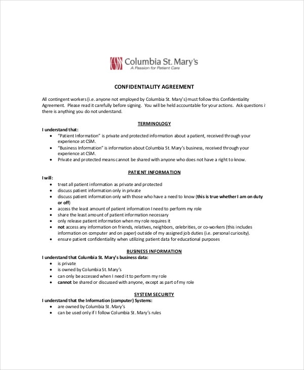 Sample Celebrity Personal Confidentiality Agreement