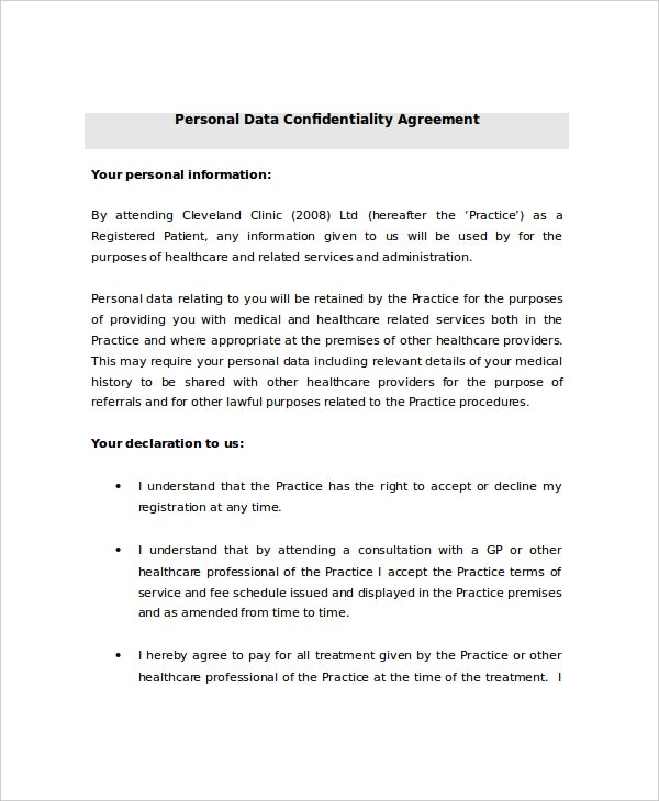 Personal Data Confidentiality Agreement Sample  Private Agreement Template