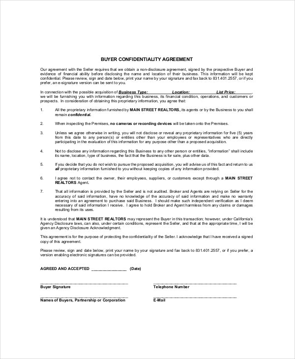 Real Estate Confidentiality Agreement Templates Free Sample