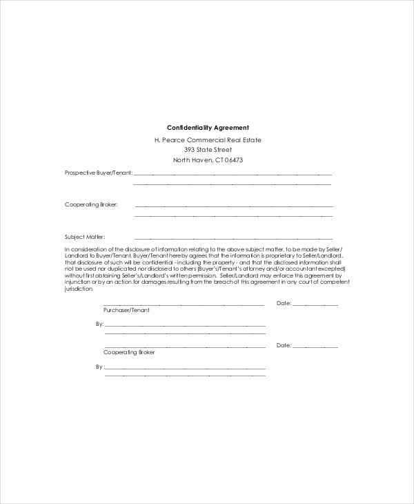 landlord confidentiality agreement example