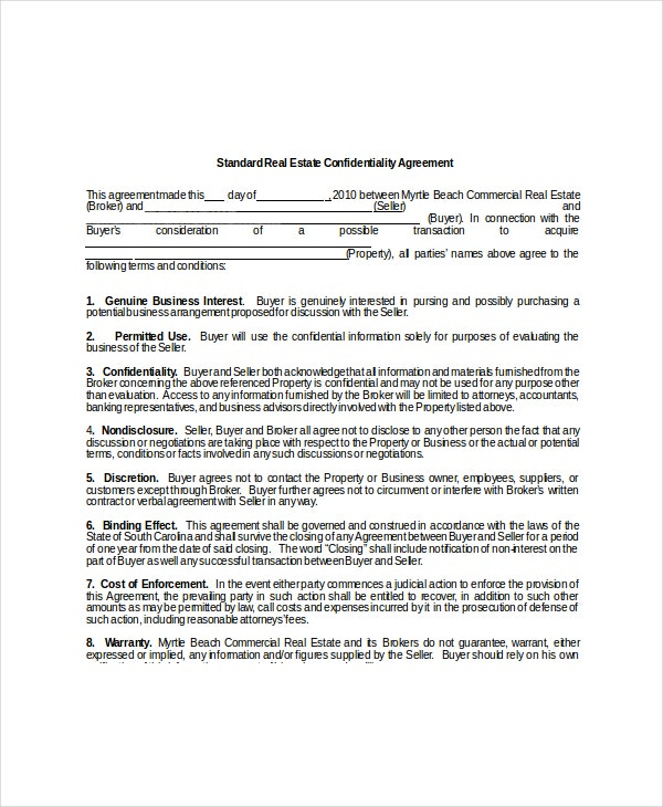 Sample real estate confidentiality agreement word employee 8 real estate confidentiality agreement templates free sample pronofoot35fo Gallery